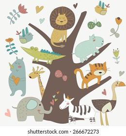 Africa animals sitting on a tree. Cute alligator, tiger, lion, elephant, rhino, hippo, ostrich and zebra in cartoon style.