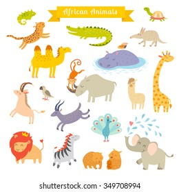 Africa animals vector illustration set, cartoon style. Africa mammals art. Big vector set.  Isolated on white background