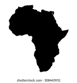 Africa black silhouette map