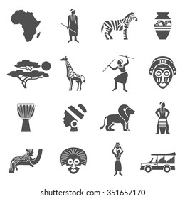 Africa black white icons set with african people and animals flat isolated vector illustration