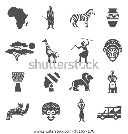 africa black white icons set african stock vector royalty free