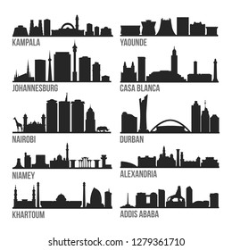 Africa Cities Most Famous Skyline City Silhouette Design Collection Set Pack