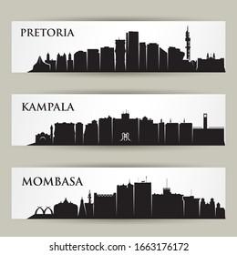 Africa cities skylines - Pretoria, South Africa, Kampala, Uganda, Mombasa, Kenya - isolated vector illustration