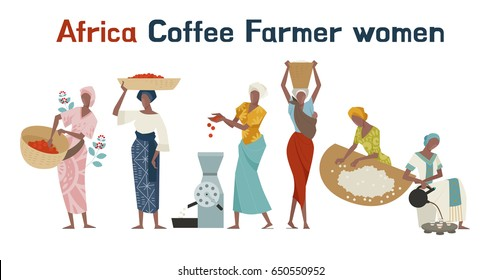 Africa coffee farm farmer character vector illustration flat design