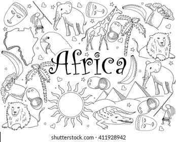 Africa Coloring Book Line Art Design Vector Illustration Separate Objects Hand Drawn Doodle