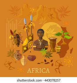 Africa concept african traditions and culture tribes of Africa vector illustration