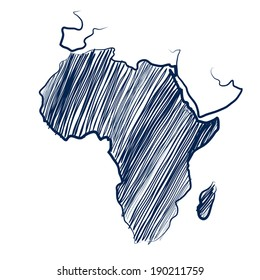 Africa continent  map hand drawn background vector,illustration