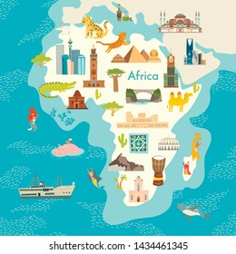 Africa continent, world map with landmarks vector cartoon illustration. Abstract African landmarks, animals, sign and icon cartoon style.  Poster, art, travel card