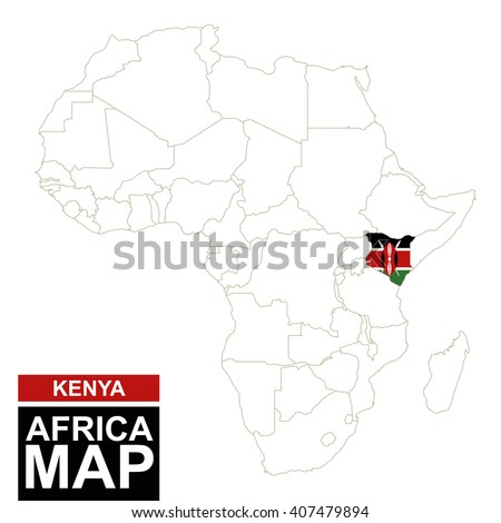 Africa Contoured Map Highlighted Kenya Kenya Stock Vector (Royalty ...