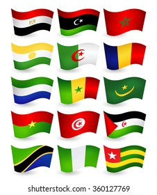 Africa country flying flags set part 1.All elements are separated in editable layers clearly labeled.