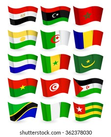 Africa country flying flat flags pack set 1.All elements are separated in editable layers clearly labeled.