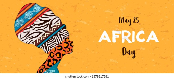 Africa Day banner illustration for 25 may celebration. African woman head with ethnic animal print textures.