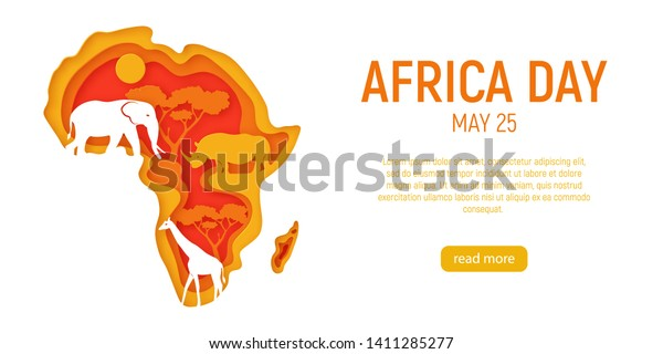 Africa day. Decorative 3d paper cut map of Africa continent with wild animals silhouettes. 3d paper cut eco friendly design. Vector illustration