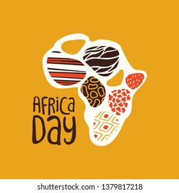 Africa Day greeting card illustration for 25 may celebration. African continent map with traditional tribal art decoration.
