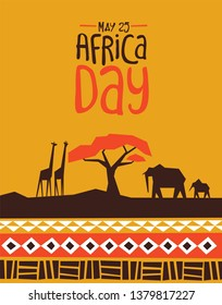 Africa Day greeting card illustration with traditional african style art decoration and wild animals.