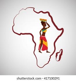 Africa design. map icon. Flat illustration