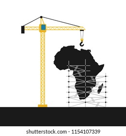 Africa as developing continenet and region - boom of construction investment and development as metaphor of prosperity, progression, modernization and innovative growth. Vector illustration