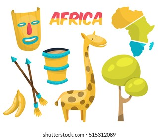 Africa elements and icons.Cartoon elements