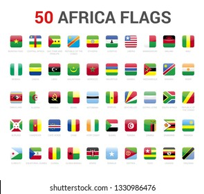 Africa flags of country. 50 flag rounded square icons Vector on White background.
