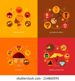 Africa flat icon composition with crafts culture life mineral extraction isolated vector illustration