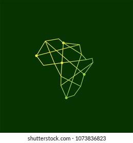africa geometric connection tech logo vector icon