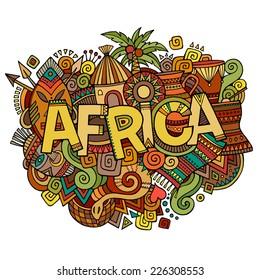 Africa hand lettering and doodles elements background. Vector illustration