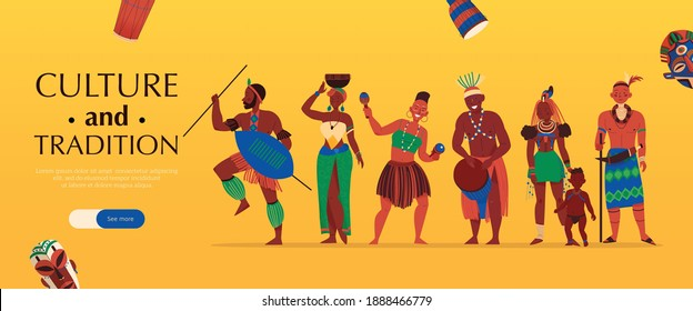 Africa horizontal banner with characters of african tribe members editable text and see more slider button vector illustration