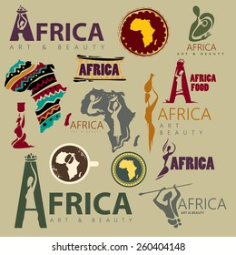 Africa Icon Collection, Abstract African Style (Vector Art)