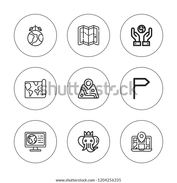 Outline Africa Geographical Map.Africa Icon Set Collection 9 Outline Stock Vector Royalty