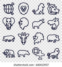 Africa icons set. set of 16 africa outline icons such as giraffe, lion, hippopotamus, elephant, globe and plane