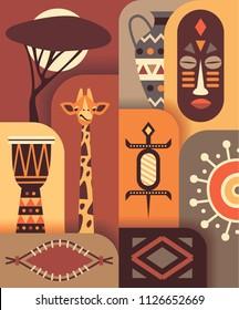 Africa jungle ethnic culture travel icons set. Vector flat illustration. Color background. Giraffe, music drum, shield, tree, lizard, jug, mask.