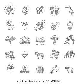 Africa jungle ethnic culture travel icons set outline isolated vector illustration