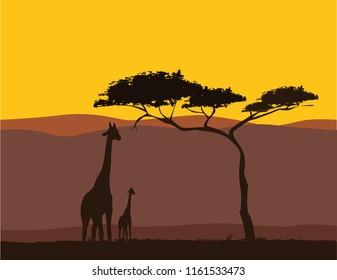 Africa Landscape Silhouette