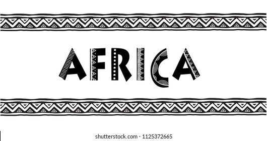 Africa letters. Banner with tribal traditional grunge pattern, concept design