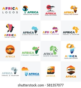 Africa logo. Africa map. logo template. Travel ,Safari Paints, Finance elements and icons.