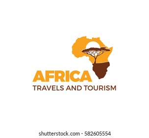 Africa logo Africa map vector template elements and icons.