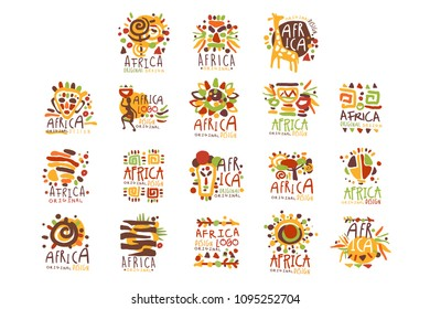 Africa logo original design. Travel to Africa colorful hand drawn vector llustrations