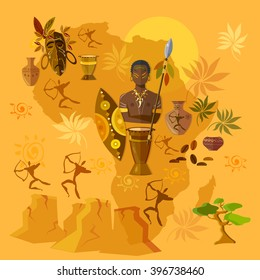 Africa map african tribes culture and history vector illustration