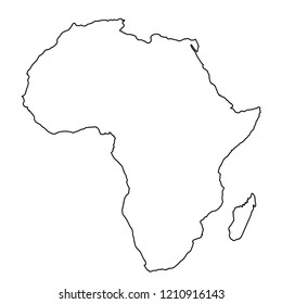 Africa map from black contour curves lines on white background. Vector illustration.