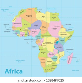 Africa map colorful, new political detailed map, separate individual states, with state city and sea names, blue background vector