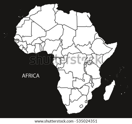 Africa Political Map Black And White
