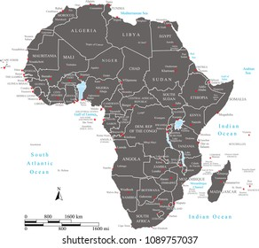 Africa map countries names labeled vector outline illustration with scales of miles and kilometers. African countries map outline with mileage and kilometer scales