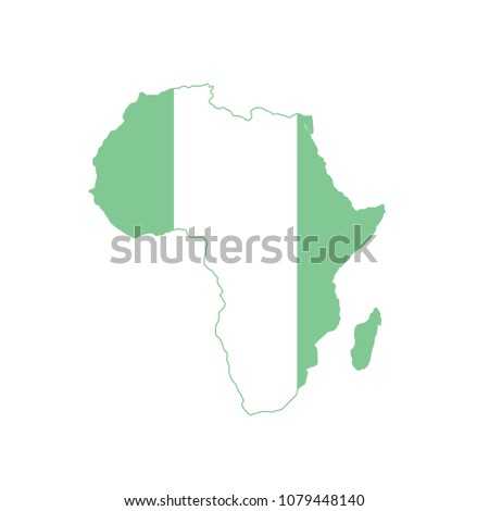 Africa Map Flag Nigeria Flat Vector Stock Vector (Royalty Free ...