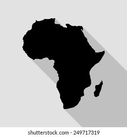 Africa map icon - black illustration with long shadow