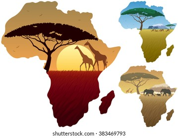 Africa Map Landscapes: Three African landscapes in map of Africa.