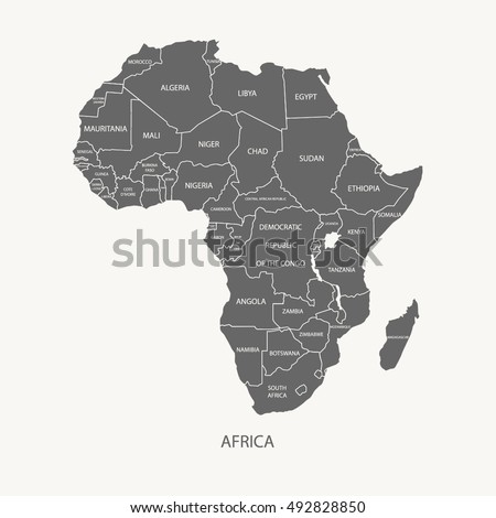 Africa Map Name Countries Grey Color Stock Vector Royalty Free