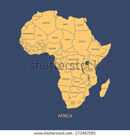 Africa Map Name Countries Illustration Vector Stock Vector Royalty