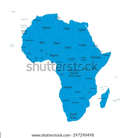 africa map names all countries stock vector royalty free 297290498