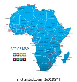 Africa Map with navigation icons