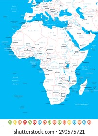 Africa - map, navigation icons - illustration